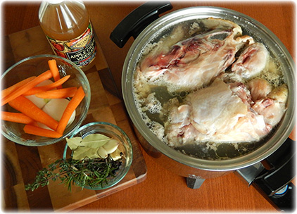 Chicken bone broth will take about 24 hours to make
